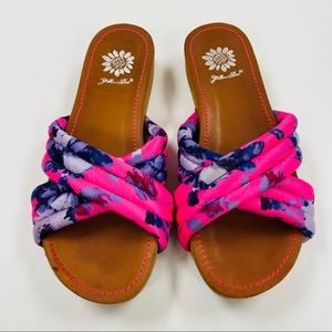 Pink & Blue floral yellow box slip on sandals